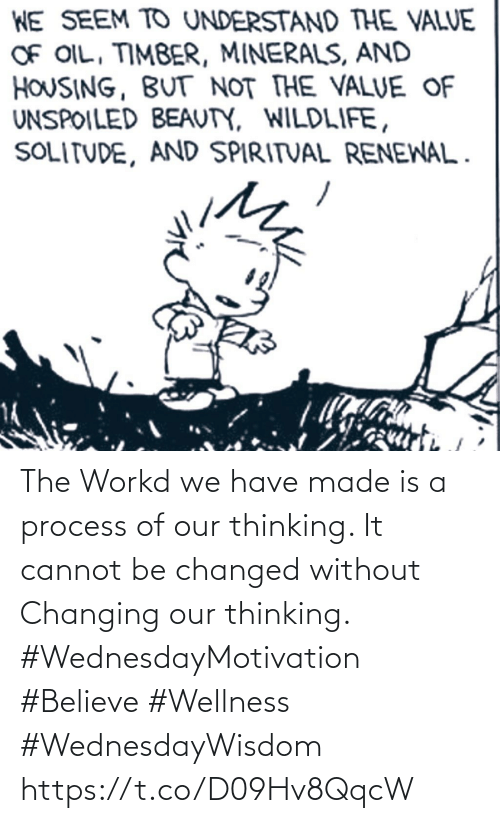 We Have: The Workd we have made is a process of our thinking.  It cannot be changed without  Changing our thinking.  #WednesdayMotivation #Believe #Wellness #WednesdayWisdom https://t.co/D09Hv8QqcW