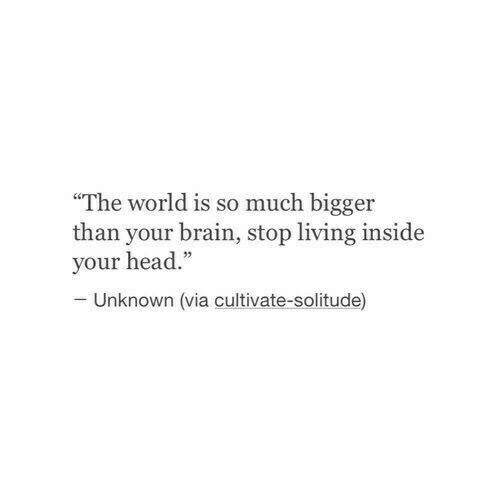 "Head, Brain, and World: The world is so much bigger  than your brain, stop living inside  your head.""  Unknown (via cultivate-solitude)"
