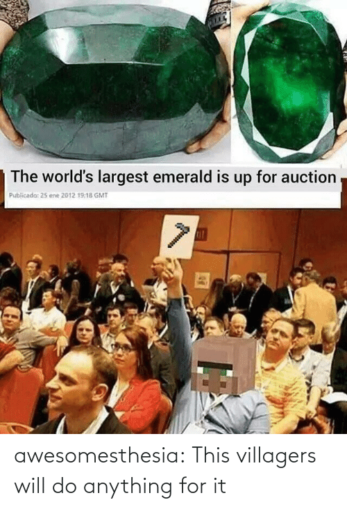Do Anything: The world's largest emerald is up for auction  Publicada: 25 ene 2012 19:18 GMT awesomesthesia:  This villagers will do anything for it