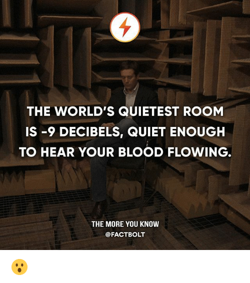 decibels: THE WORLD'S QUIETEST ROOM  IS -9 DECIBELS, QUIET ENOUGH  TO HEAR YOUR BLOOD FLOWING,  THE MORE YOU KNOW  @FACTBOLT 😮