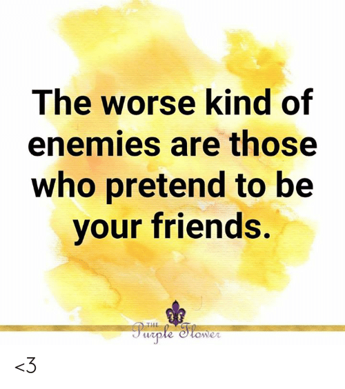Enemies: The worse kind of  enemies are those  who pretend to be  your friends.  THE  Purple Stower <3