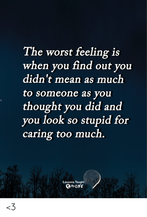 Memes, The Worst, and Too Much: The worst feeling is  when you find out you  didn't mean as much  to someone as you  thought you did and  you look so stupid for  caring too much.  Lessons Taught  ByLIFE <3