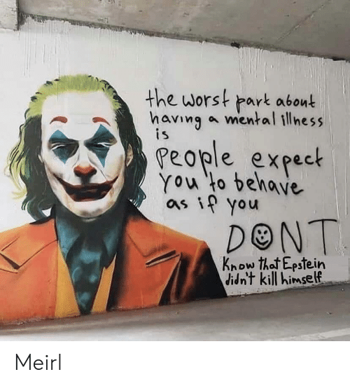 The Worst, MeIRL, and Mental Illness: the worst park abont  having a mental illness  is  People expect  You to behave  as if you  DONT  Know that Epstein  didn't kill himself Meirl