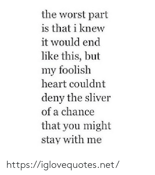 stay: the worst part  is that i knew  it would end  like this, but  my foolish  heart couldnt  deny the sliver  of a chance  that you might  stay with me https://iglovequotes.net/