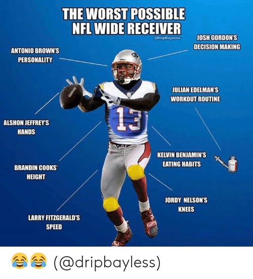 Benjamins: THE WORST POSSIBLE  NFL WIDE RECEIVER  JOSH GORDON'S  GOripBayless  DECISION MAKING  ANTONIO BROWN'S  PERSONALITY  JULIAN EDELMAN'S  WORKOUT ROUTINE  13  ALSHON JEFFREY'S  HANDS  KELVIN BENJAMIN'S  EATING HABITS  BRANDIN COOKS  HEIGHT  JORDY NELSON'S  KNEES  LARRY FITZGERALD's  SPEED 😂😂 (@dripbayless)