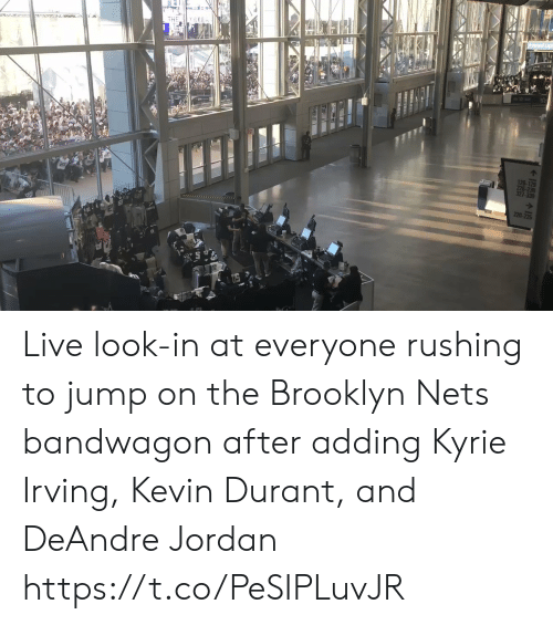 Brooklyn Nets, DeAndre Jordan, and Kevin Durant: THE Y SEEn  126-129  226-23  327-330  220 Live look-in at everyone rushing to jump on the Brooklyn Nets bandwagon  after adding Kyrie Irving, Kevin Durant, and DeAndre Jordan https://t.co/PeSIPLuvJR