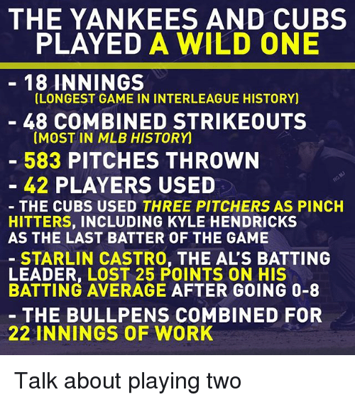 Pinches: THE YANKEES AND CUBS  PLAYED A WILD ONE  18 INNINGS  LONGEST GAME IN INTERLEAGUE HISTORY)  48 COMBINED STRIKEOUTS  (MOST IN MLB HISTORY  583 PITCHES THROWN  42 PLAYERS USED  THE CUBS USED THREE PITCHERS AS PINCH  HITTERS, INCLUDING KYLE HENDRICKS  AS THE LAST BATTER OF THE GAME  STARLIN CASTRO, THE AL'S BATTING  POINTS ON HIS  BATTING AVERAGE AFTER GOING 0-8  THE BULL PENS COMBINED FOR  22 INNINGS OF WORK Talk about playing two
