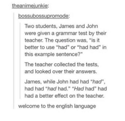 "Welcome To: theanimejunkie:  bossubossupromode:  Two students, James and John  were given a grammar test by their  teacher. The question was, ""is it  better to use ""had"" or ""had had"" in  this example sentence?""  The teacher collected the tests,  and looked over their answers.  James, while John had had ""had"",  had had ""had had."" ""Had had"" had  had a better effect on the teacher.  welcome to the english language"