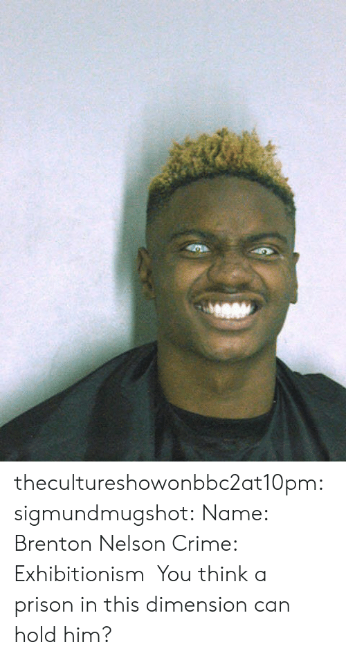 Brenton: thecultureshowonbbc2at10pm: sigmundmugshot:   Name:  Brenton Nelson   Crime: Exhibitionism    You think a prison in this dimension can hold him?