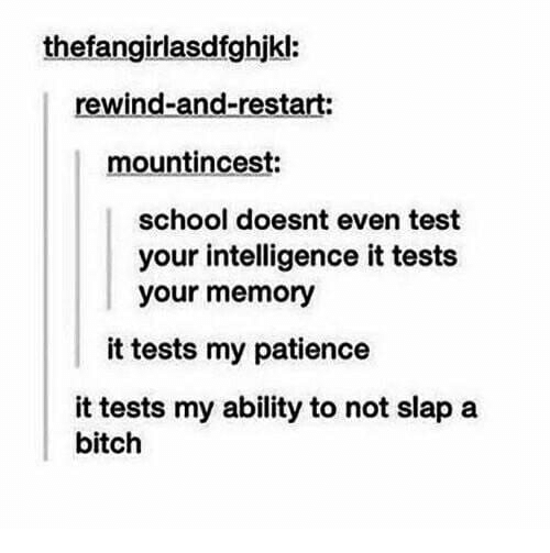 Bitch, School, and Patience: thefangirlasdfghjkl:  rewind-and-restart:  mountincest:  school doesnt even test  your intelligence it tests  your memory  it tests my patience  it tests my ability to not slap a  bitch