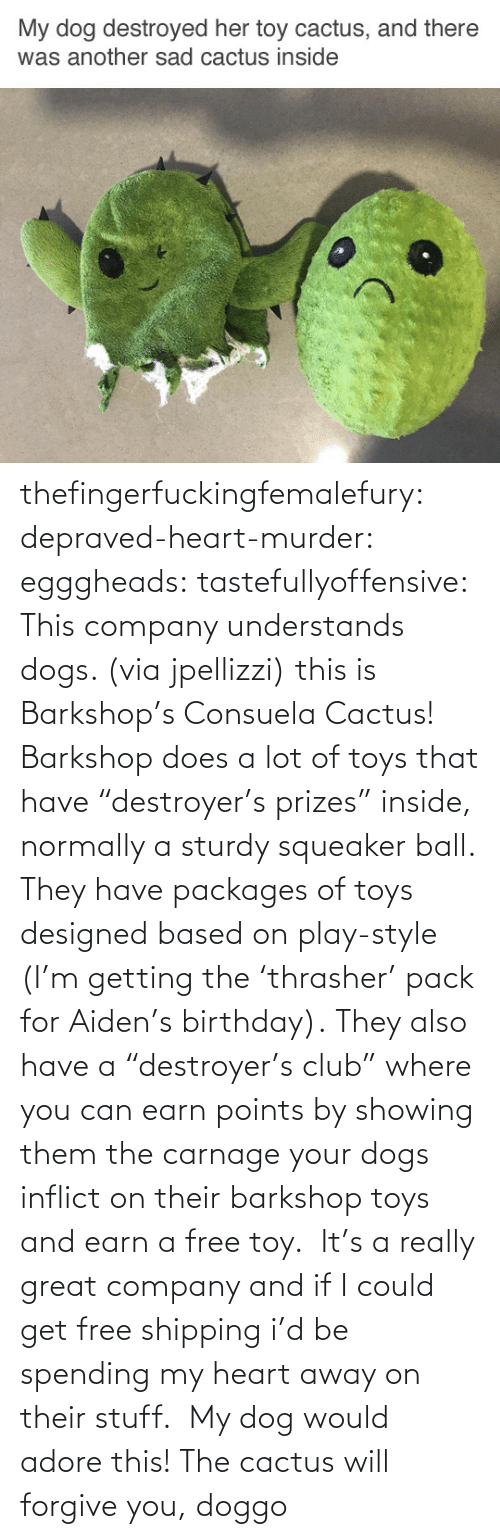 "toy: thefingerfuckingfemalefury:  depraved-heart-murder:  egggheads:  tastefullyoffensive: This company understands dogs. (via jpellizzi) this is Barkshop's Consuela Cactus! Barkshop does a lot of toys that have ""destroyer's prizes"" inside, normally a sturdy squeaker ball. They have packages of toys designed based on play-style (I'm getting the 'thrasher' pack for Aiden's birthday). They also have a ""destroyer's club"" where you can earn points by showing them the carnage your dogs inflict on their barkshop toys and earn a free toy.  It's a really great company and if I could get free shipping i'd be spending my heart away on their stuff.   My dog would adore this!  The cactus will forgive you, doggo"