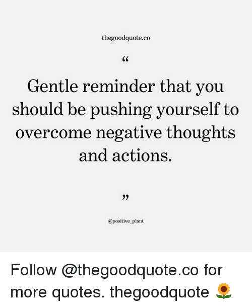 Memes, Quotes, and 🤖: thegoodquote.co  Gentle reminder that y  ou  should be pushing yourself to  overcome negative thoughts  and actions.  3)  @positive plant Follow @thegoodquote.co for more quotes. thegoodquote 🌻