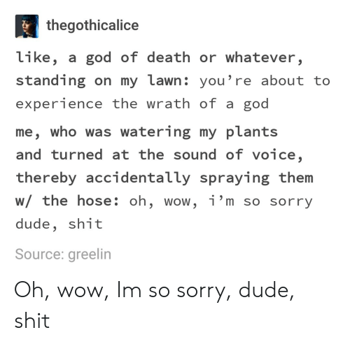Dude, God, and Shit: thegothicalice  like, a god of death or whatever,  standing on my lawn: you're about to  experience the wrath of a god  me, who was watering my plants  and turned at the sound of voice,  thereby accidentally spraying them  w/ the hose: oh, wow, i'm so sorry  dude, shit  Source: greelin Oh, wow, Im so sorry, dude, shit