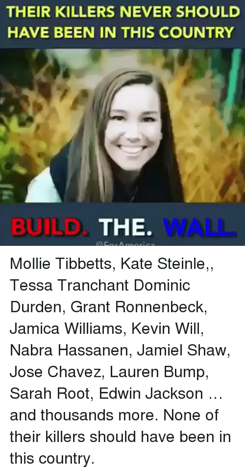 chavez: THEIR KILLERS NEVER SHOULD  HAVE BEEN IN THIS COUNTRY  BUILD  THE.  WALL. Mollie Tibbetts, Kate Steinle,, Tessa Tranchant Dominic Durden, Grant Ronnenbeck, Jamica Williams, Kevin Will, Nabra Hassanen, Jamiel Shaw, Jose Chavez, Lauren Bump, Sarah Root, Edwin Jackson …and thousands more. None of their killers should have been in this country.