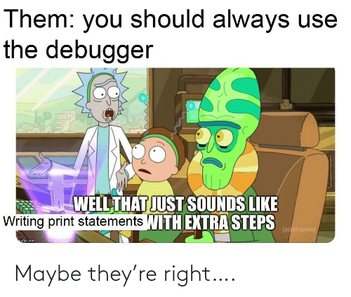 Sounds Like: Them: you should always use  the debugger  WELL THAT JUST SOUNDS LIKE  Writing print statements WITH EXTRA STEPS  [adult swim)  ngfip.com Maybe they're right….