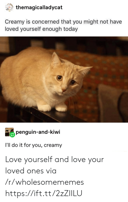 concerned: themagicalladycat  Creamy is concerned that you might not have  loved yourself enough today  penguin-and-kiwi  I'll do it for you, creamy Love yourself and love your loved ones via /r/wholesomememes https://ift.tt/2zZIILU
