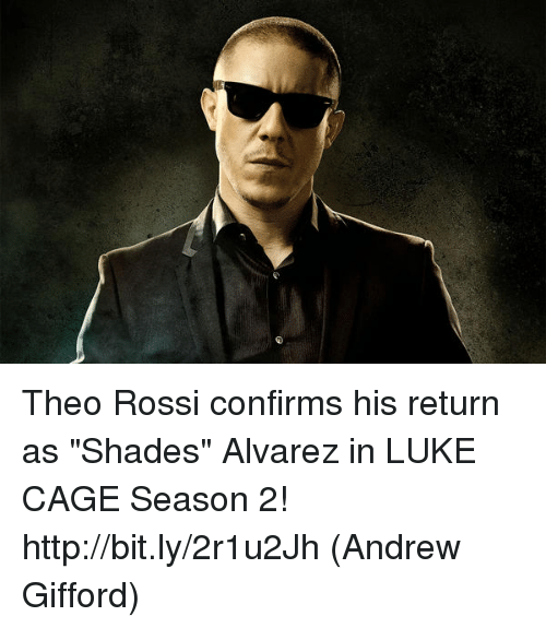 """luke cage: Theo Rossi confirms his return as """"Shades"""" Alvarez in LUKE CAGE Season 2! http://bit.ly/2r1u2Jh  (Andrew Gifford)"""