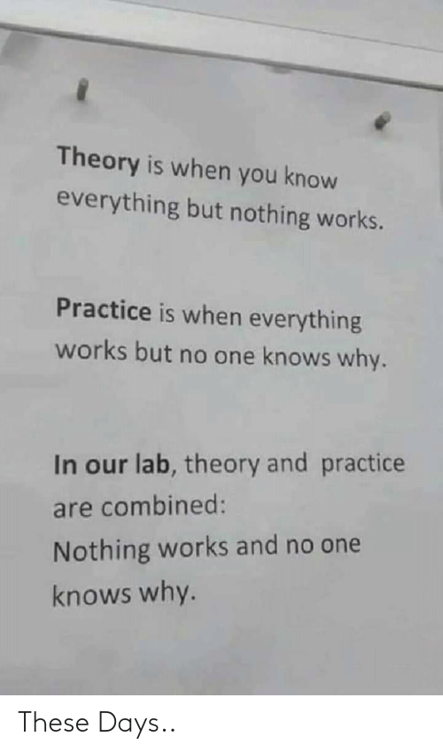 But No: Theory is when you know  everything but nothing works.  Practice is when everything  works but no one knows why.  In our lab, theory and practice  are combined:  Nothing works and no one  knows why. These Days..