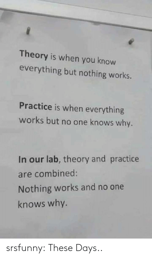 But No: Theory is when you know  everything but nothing works.  Practice is when everything  works but no one knows why.  In our lab, theory and practice  are combined:  Nothing works and no one  knows why. srsfunny:  These Days..