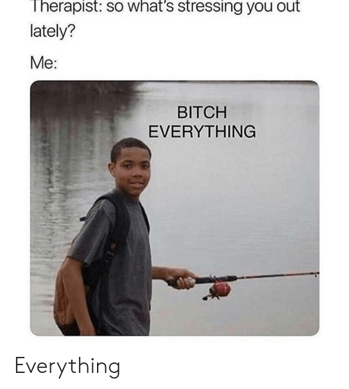 Bitch, You, and Whats: Therapist: so what's stressing you out  lately?  Me:  BITCH  EVERYTHING Everything