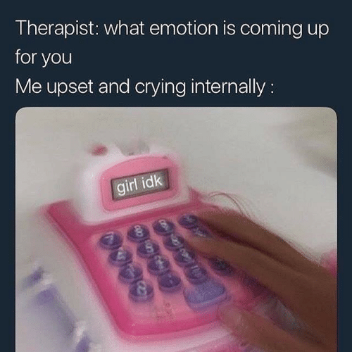 internally: Therapist: what emotion is coming up  for you  Me upset and crying internally:  girl idk