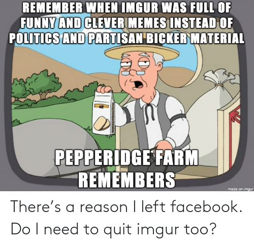 Reason I: There's a reason I left facebook. Do I need to quit imgur too?