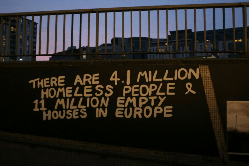 Homeless, Europe, and Houses: THERE ARE 4.1 씨LLION  11 MILLION EMPTY  HOMELESS PEOPLE  HOUSES IN EUROPE