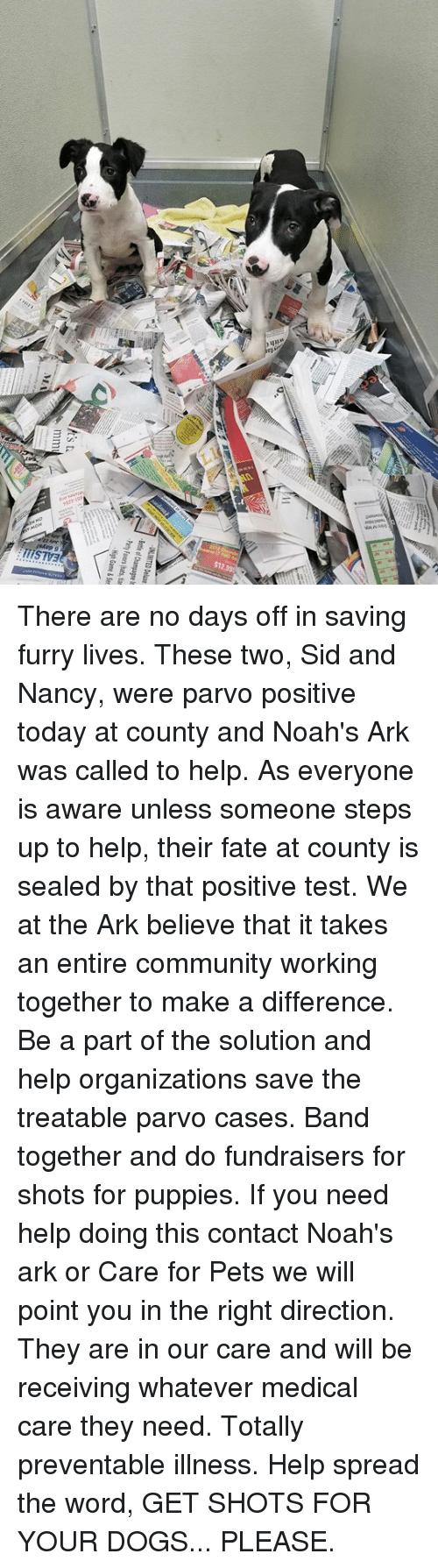 Community, Dogs, and Memes: There are no days off in saving furry lives. These two,  Sid and Nancy, were parvo positive today at county and Noah's Ark was called to help. As everyone is aware unless someone steps up to help,  their fate at county is sealed by that positive test. We at the Ark believe that it takes an entire community working together to make a difference.  Be a part of the solution and help organizations save the treatable parvo cases. Band together and do fundraisers for shots for puppies. If you need help doing this contact Noah's ark  or Care for Pets we will point you in the right direction.  They are in our care and will be receiving whatever medical care they need. Totally preventable illness. Help spread the word,  GET SHOTS FOR YOUR DOGS...  PLEASE.