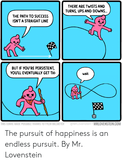 Lovenstein: THERE ARE TWISTS AND  TURNS, UPS AND DOWNS...  THE PATH TO SUCCESS  ISN'T A STRAIGHT LINE  BUT IF YOU'RE PERSISTENT,  YOU'LL EVENTUALLY GET TH  wait  THIS COMIC MADE POSSIBLE THANKS TO TYLER BILLMEYER @MrLovenstein MRLOVENSTEIN.COM The pursuit of happiness is an endless pursuit.  By Mr. Lovenstein