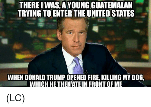 Donald Trump, Fire, and Memes: THERE I WAS A YOUNG GUATEMALAN  TRYING TO ENTER THE UNITED STATES  WHEN DONALD TRUMP OPENED FIRE, KILLING MY DOG,  WHICH HE THEN ATE IN FRONT OF ME (LC)