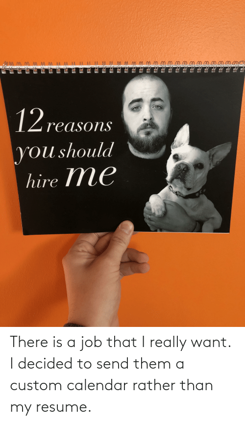 Resume: There is a job that I really want. I decided to send them a custom calendar rather than my resume.