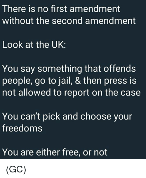 Freedoms: There is no first amendment  without the second amendment  Look at the UK:  You say something that offends  people, go to jail, & then press is  not allowed to report on the case  You can't pick and choose your  freedoms  You are either free, or not (GC)