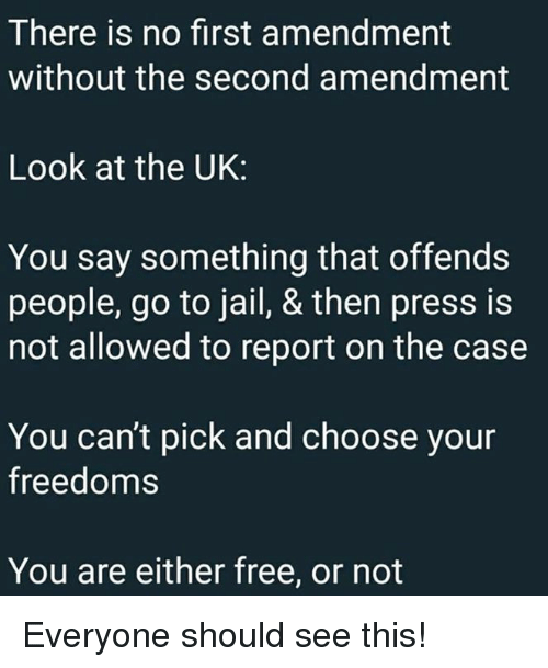Freedoms: There is no first amendment  without the second amendment  Look at the UK:  You say something that offends  people, go to jail, & then press is  not allowed to report on the case  You can't pick and choose your  freedoms  You are either free, or not Everyone should see this!