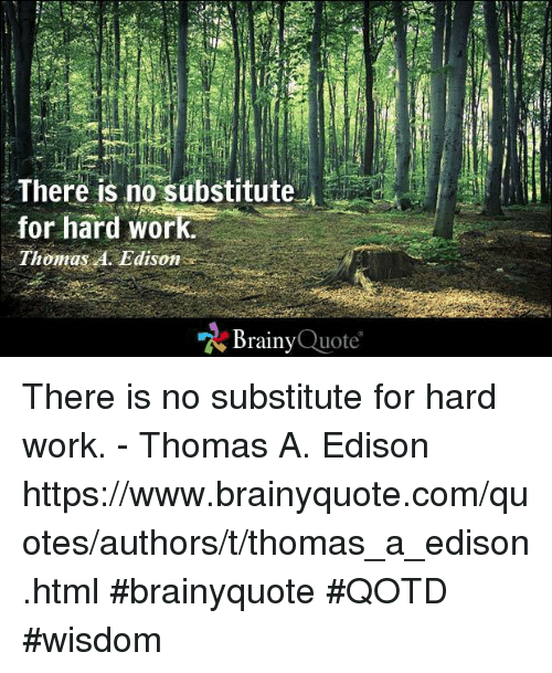 There Is No Substitute Or Hard Work Thomas A Edison Brainy Quote