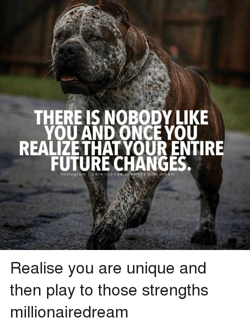 Peted: THERE IS NOBODY LIKE  YOU AND ONCE YOU  REALIZE THAT YOUR ENTIRE  FUTURE CHANGES.  n sta gram  l pete rjvoogd Realise you are unique and then play to those strengths millionairedream
