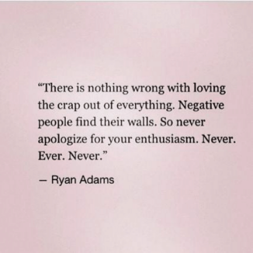 "Enthusiasm: There is nothing wrong with loving  the crap out of everything. Negative  people find their walls. So never  apologize for your enthusiasm. Never.  Ever. Never.""  Ryan Adams"