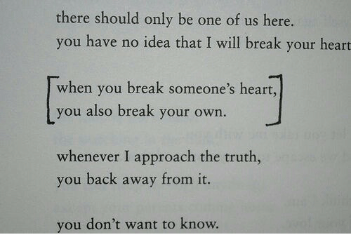 Back Away: there should only be one of us here.  you have no idea that I will break your heart  when you break someone's heart,  you also break your own.  whenever I approach the truth,  you back away from it.  you don't want to know.
