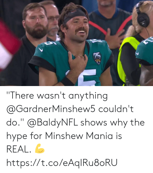 """hype: """"There wasn't anything @GardnerMinshew5 couldn't do.""""  @BaldyNFL shows why the hype for Minshew Mania is REAL. 💪 https://t.co/eAqIRu8oRU"""