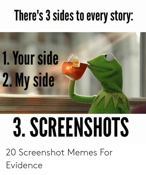 Sides: There's 3 sides to every story  1. Your side  2.My side  3. SCREENSHOTS 20 Screenshot Memes For Evidence