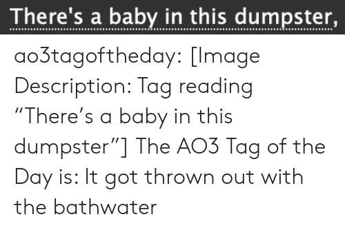 """Target, Tumblr, and Blog: There's a baby in this dumpster, ao3tagoftheday:  [Image Description: Tag reading """"There's a baby in this dumpster""""]  The AO3 Tag of the Day is: It got thrown out with the bathwater"""