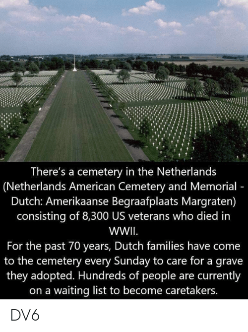 Memes, American, and Netherlands: There's a cemetery in the Netherlands  (Netherlands American Cemetery and Memorial  Dutch: Amerikaanse Begraafplaats Margraten)  consisting of 8,300 US veterans who died in  WWII  For the past 70 years, Dutch families have come  to the cemetery every Sunday to care for a grave  they adopted. Hundreds of people are currently  on a waiting list to become caretakers. DV6