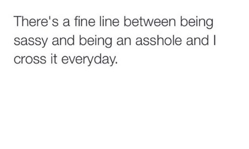 fine line: There's a fine line between being  sassy and being an asshole and I  cross it everyday.