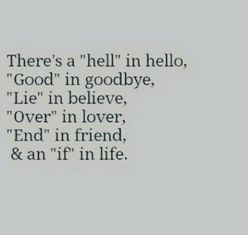 "lover: There's a ""hell"" in hello,  ""Good"" in goodbye,  ""Lie"" in believe  ""Over"" in lover  ""End"" in friend,  & an ""if"" in life."