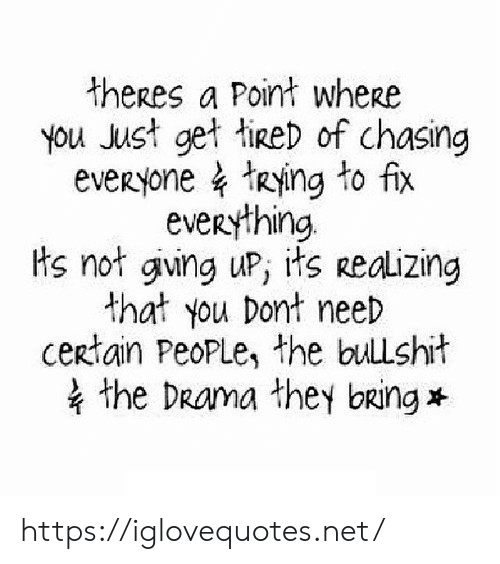 Bullshit, Drama, and Net: theres a Point wherse  you Just get tied of chasing  everyone TRying to fix  everything.  ts not gving uP, its Realizing  that you Dont need  certain PeoPLe, the bullshit  the DRama they bang https://iglovequotes.net/