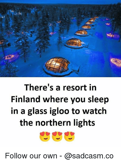 Glassed: There's a resort in  Finland where you sleep  in a glass igloo to watch  the northern light:s Follow our own - @sadcasm.co