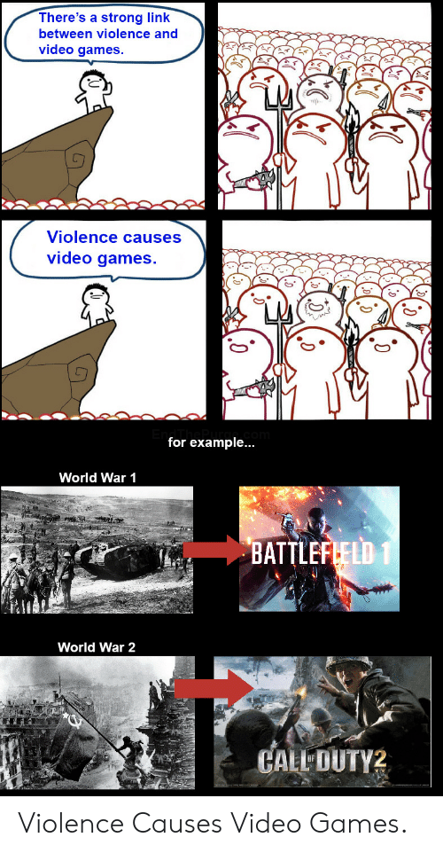 world war 1: There's a strong link  between violence and  video games.  Violence causes  video games.  for example...  World War 1  BATTLEFLELD 1  World War 2  CALL DUTY2 Violence Causes Video Games.