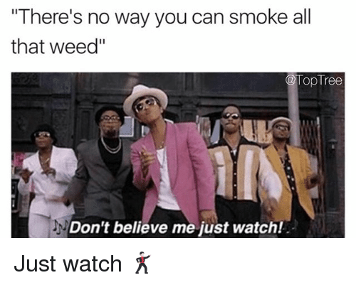 "Dont Believe Me Just Watch: There's no way you can smoke all  that weed""  @TopTree  Don't believe me just watch Just watch 🕺🏻"