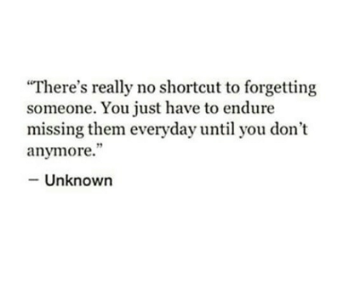 """endure: """"There's really no shortcut to forgetting  someone. You just have to endure  missing them everyday until you don't  anymore.""""  Unknown"""
