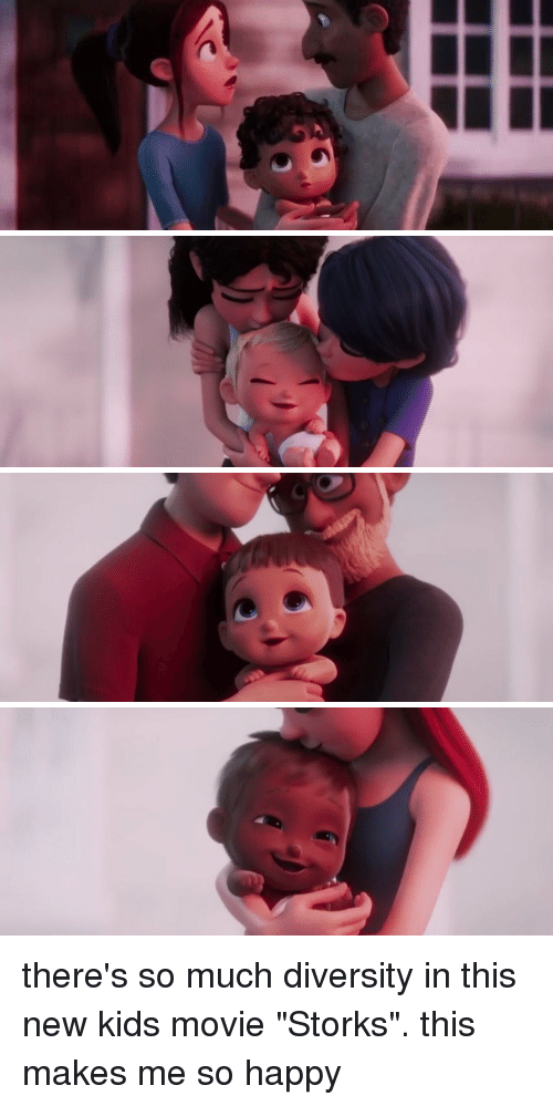 """kid movie: there's so much diversity in this new kids movie """"Storks"""". this makes me so happy"""