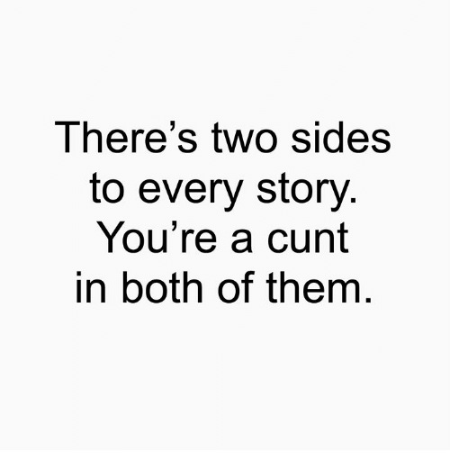 Memes, Cunt, and 🤖: There's two sides  to every story  You're a cunt  in both of them